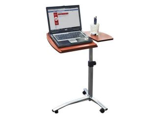 Angle & Height Adjustable Rolling Laptop Table Desk (Brown)