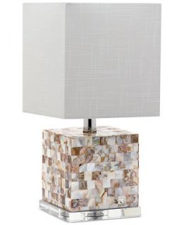 Decorators Lighting Short Squared Mother Of Pearl Crystal Table Lamp