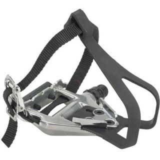 Wellgo LU 961 Road w/ Clips And Straps Bike Pedals Silver 9/16in