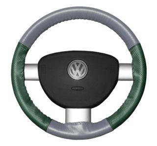 2015 Toyota Sienna Leather Steering Wheel Covers   Wheelskins Grey/Green Perf 15 1/4 X 4 1/2   Wheelskins EuroPerf Perforated Leather Steering Wheel Covers