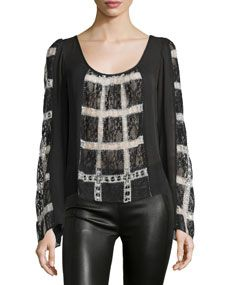 Elizabeth and James Adriana Long Sleeve Combo Top, Black/Ivory