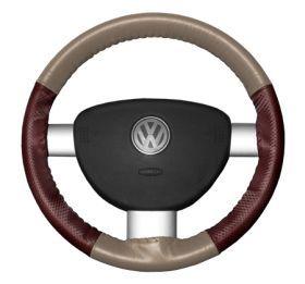 2015 Toyota Sienna Leather Steering Wheel Covers   Wheelskins Sand/Burgundy Perf 15 1/4 X 4 1/2   Wheelskins EuroPerf Perforated Leather Steering Wheel Covers
