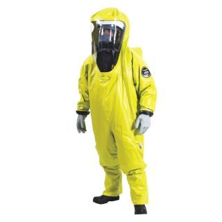TRELLCHEM Level B Rear Entry Encapsulated Suit, Yellow, Size L, PVC Coated Fabric   Encapsulated Chemical Suits   36Y757|66 704