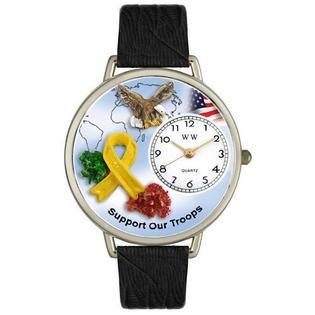 Whimsical Watches Support Our Troops Tan Leather And Silvertone Watch