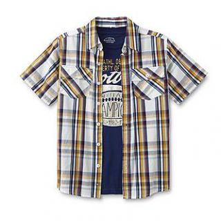 Roebuck & Co. Boys Graphic T Shirt & Button Front Shirt   Plaid