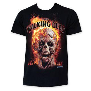 The Walking Dead Flaming Zombie Head Tee Shirt   17858866