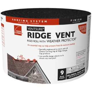 Owens Corning VentSure 9 in x 240 in Black Plastic Roll Roof Ridge Vent