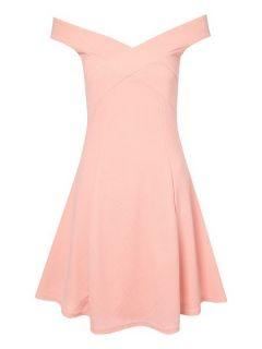 Jane Norman Off the shoulder skater dress. Nude
