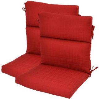 Hampton Bay Geranium Textured High Back Outdoor Chair Cushion (2 Pack) 7718 02220600