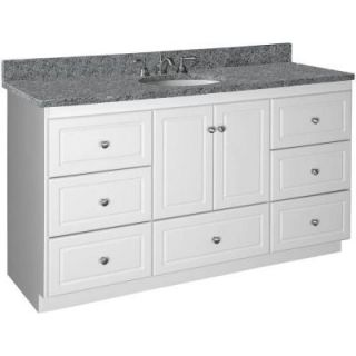 Simplicity by Strasser Shaker 60 in. W x 21 in. D x 34.5 in. H Vanity for Center Basin Cabinet Only in Satin White 01.108.2