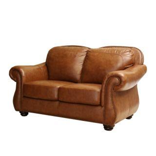 ABBYSON LIVING Arizona Top Grain Leather Loveseat   16919273