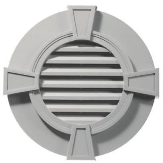 Builders Edge 30 in. Round Gable Vent with Keystones in Paintable 120033030030