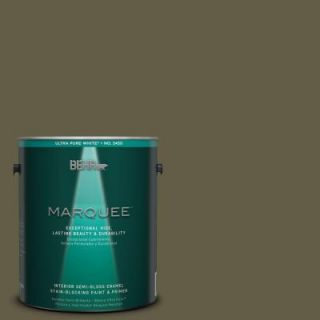 BEHR MARQUEE 1 gal. #MQ6 28 Crushed Oregano One Coat Hide Semi Gloss Enamel Interior Paint 345301