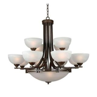 Yosemite Home Decor Sequoia 13 Light Dark Brown Frame Incandescent Chandelier with Frosted Alabaster Shades 98330 4+8+3DB