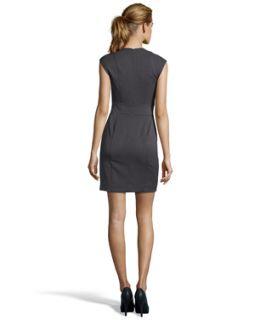 Nicole Miller Charcoal Stretch 'grenada' Twill Cap Sleeves Dress (328839001)