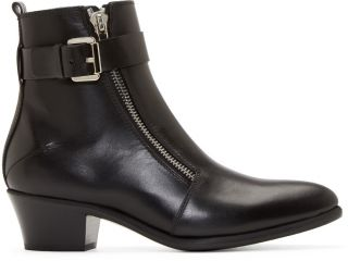 Costume National: Black Leather Zip Ankle Boots