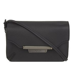 RAG & BONE   Moto triple compartment grained leather pouch