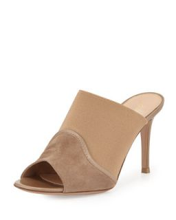 Gianvito Rossi Suede & Stretch Peep Toe Mule, Bisque