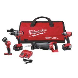 MILWAUKEE Cordless Combination Kit, Voltage 18.0 Li Ion, Number of Tools 4   Cordless Combination Kits   31AE24 2796 24