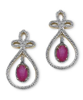 Palmbeach Jewelry 1.30 Ct Tw Oval Cut Ruby Drop Pierced Earrings In 14k Gold Over Sterling Silver (363485901)