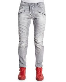 Pierre Balmain Five Pocket Moto Denim Jeans, Light Gray