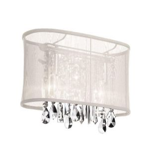 Dainolite 1 Light Wall Sconce with Oyster Oval Organza Shade in Polished Chrome   85306W 46 117