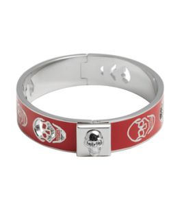 Alexander Mcqueen Red And Silver Pierced Skull Bangle (359244201)