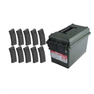 Ammo Can & 10 30rd PMAG M3 Magazines  : AR 15/M16 30RD 223/5.56 PMAG M3 MAGAZINE TEN PACK WITH AMMO CAN
