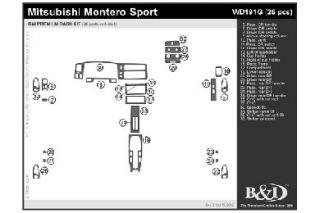 1999 Mitsubishi Montero Sport Wood Dash Kits   B&I WD191G DCF   B&I Dash Kits