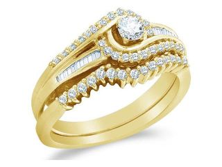 10k Yellow Gold Diamond Ladies Engagement Ring Wedding Band Two 2 Ring Set Solitaire Side Stones Cross Over Round Brilliant and Baguette Cut Diamond Ring  (1/2 cttw, H Color, I1 Clarity)