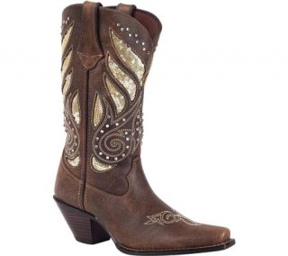 Womens Durango Boot RD003 12 Crush Bling Western Boot   Brown/Gold