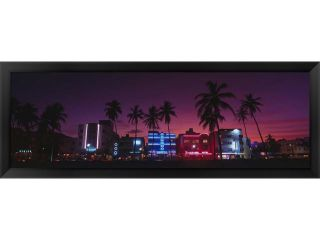 Hotels Illuminated At Night, South Beach Miami, Florida, USA by Panoramic Images Framed Art, Size 38 X 14