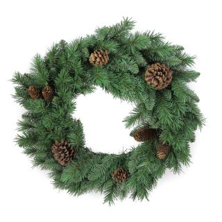AdmiredbyNature 140 Tips Christmas Pine Wreath with Natural Pine Cone