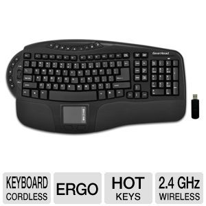 GearHead KB5950TPW Wireless Touch Pro Touchpad Keyboard   2.4 Ghz, Smart Touch Technology, 16 Internet/Multimedia Hot Keys, Ergonomic Design, Automatic Wireless Synchronization, Black