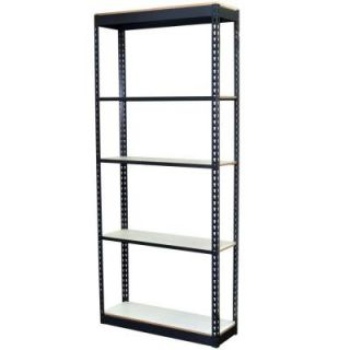 Storage Concepts 96 in. H x 36 in. W x 18 in. D 5 Shelf Steel Boltless Shelving Unit with Low Profile Shelves and Laminate Board Decking P2A5 3618 96L