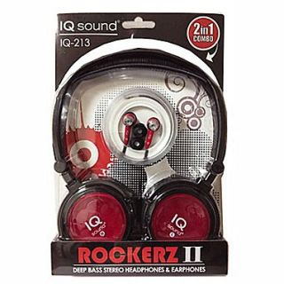 Supersonic IQ 213 Rockerz 2 In 1 Deep Bass Stereo Earbud/Headphone Combo, Red