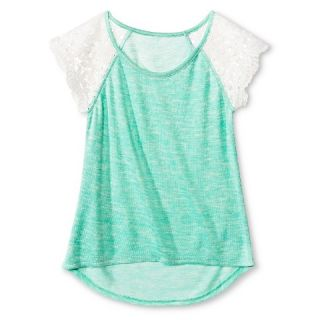 Girls Miss Chievous Lace Cap Sleeve Knit Top