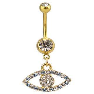 Womens Supreme Jewelry™ Curved Barbell Belly Ring with Crystals