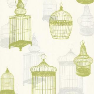 Beacon House 56 sq. ft. Avian Green Bird Cages Wallpaper 450 67332