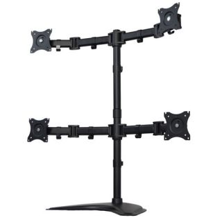 32.94 H x 33.18 W Height Adjustable 4 Screen Desk Mount Stand by