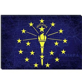 iCanvas Indiana Flag, Map Graphic Art on Canvas; 40 H x 60 W x 1.5 D