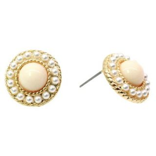 Button Earrings with Mini Simulated Pearl Beading   Pearl