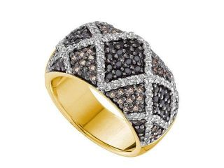 14K Yellow Gold 1.50CT Pave Brown Diamond Criss Cross Row Fashion Band Ring