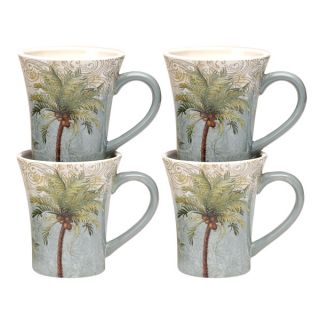 Hand painted Key West 14 ounce Ceramic Mugs (Set of 4)   16324303