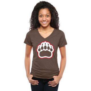 Brown Bears Womens Auxiliary Logo Tri Blend V Neck T Shirt   Brown