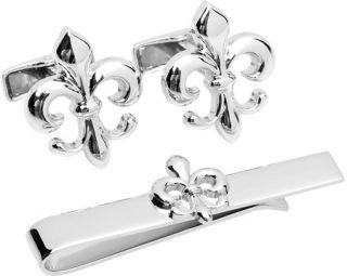 Mens Cufflinks Inc Fleur di Lis Cufflinks and Tie Bar Gift Set