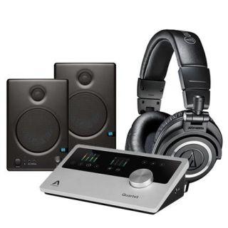 QUARTET IOS MAC LO B Apogee Electronics Apogee Electronics Quartet Multi Channel Audio Interface for iPad & Mac,   Bundle With Audio Technica ATH M50x Professional Monitor Headphones, Black, PreSonus Ceres C4.5BT Two Way 4.5 Powered Studio Speaker W/BT Pa