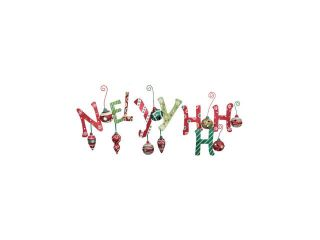 Pack of 18 Festive Glitter Noel, Joy, and Ho Ho Ho Metal Christmas Signs 12""