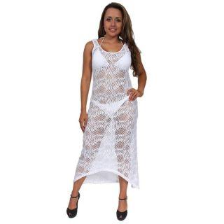 Womens Elegant Beach Dress Cover Up Maxi Crochet Sheer Swimwear Long