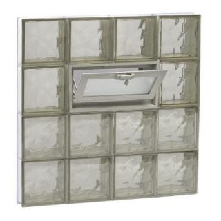Clearly Secure 31 in. x 31 in. x 3.125 in. Wave Pattern Bronze Vented Glass Block Window 3232VBZ